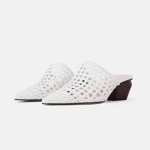 Woven Cowboy Heeled Mules